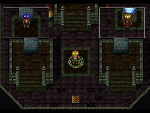 A screenshot from the game, showing a dungeon area, and a unique mechanic of the game that allows you to switch perspectives between three characters in order to solve puzzles. Two small rectangular areas appear at the top of the screen, to show where the other characters were located the last time the player controlled them.