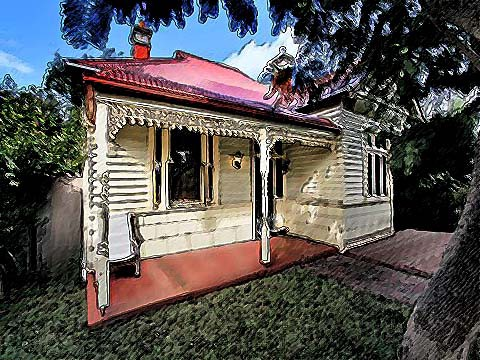 A stylised picture of a weatherboard suburban house.