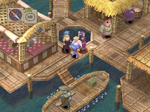 A screenshot from the game, showing three of the player's party members exploring a waterfront village docks, with shops and boats nearby.