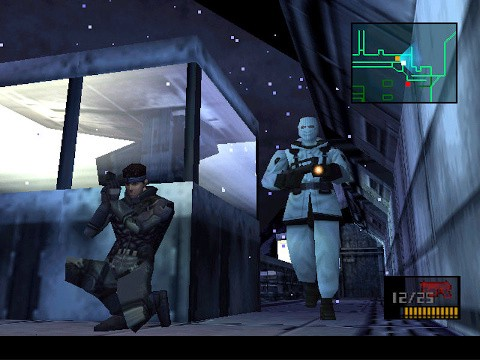 A screenshot from the game showing series protagonist Solid Snake hiding behind a building, waiting for a genome soldier to walk by.