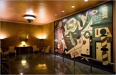 "Photo by City Room Blogs (New York Times). The mural ""Men Without Women"" by Stuart Davis can be seen in the Men's Lounge."