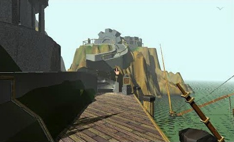 A screenshot from the start of the game showing the docks area, with a cliff in the distance that has large mechanical gears protruding out of it, and a spiral staircase leading closer to the apparatus.