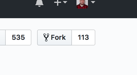 "The GitHub ""Fork"" link, positioned on the top-right, below the main banner. Current fork count reads: 113."