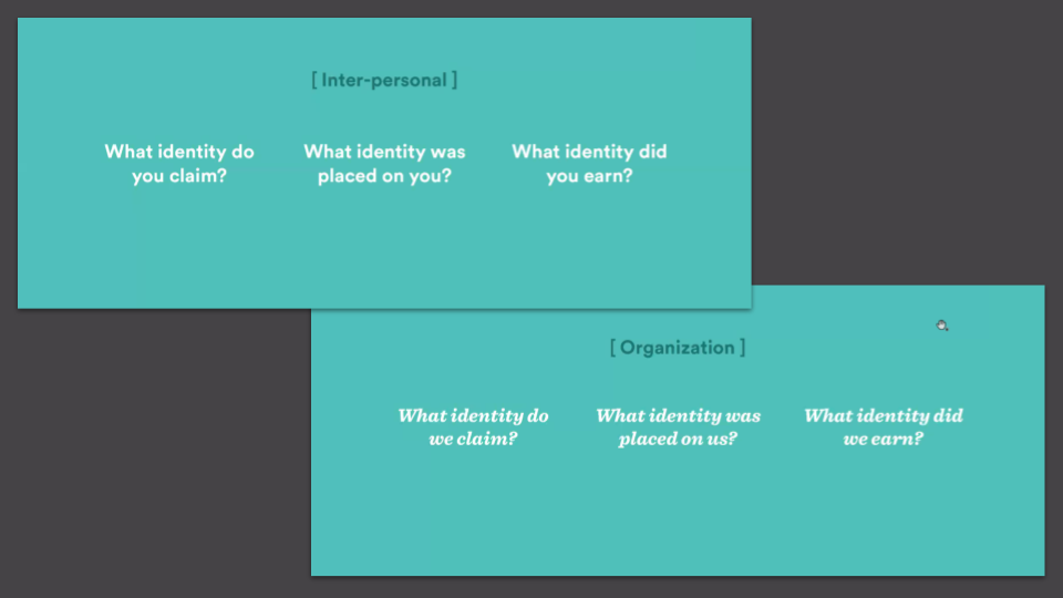 Questions to ask on an inter-personal and organization level around power, privilege and identity