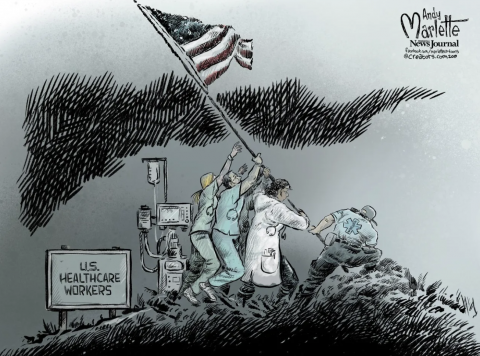 US Healthcare Workers planting a flag.