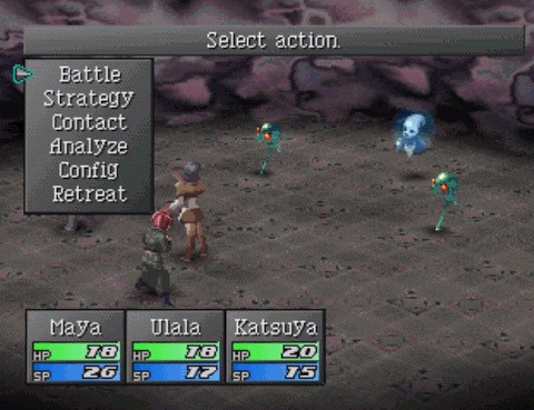 """A screenshot from the game showing the battle screen with a variety of unorthodox menu options, such as """"strategy"""" or """"contact"""" in addition to the more commonplace """"battle"""" option."""