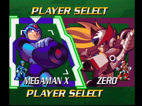 A screenshot from the game showing the player selection screen, with Mega Man X on the left side, and Zero on the right side for players to choose between.