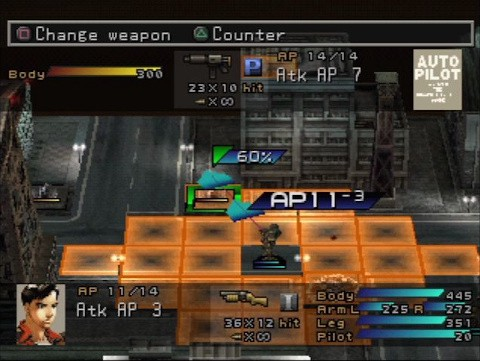 A screenshot from the game, showing orange squares on a grid, which shows the attack range for the character's attack as part of the turn based tactical battle system.