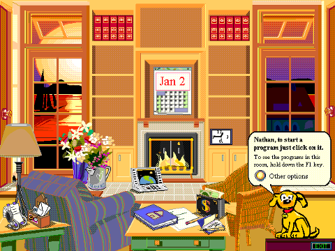 Rover sitting in a living room that is Microsoft Bob.