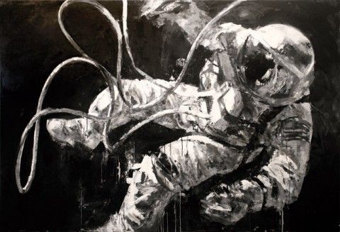 A black and white painting of an astronaut drifting through space on a blakc background.