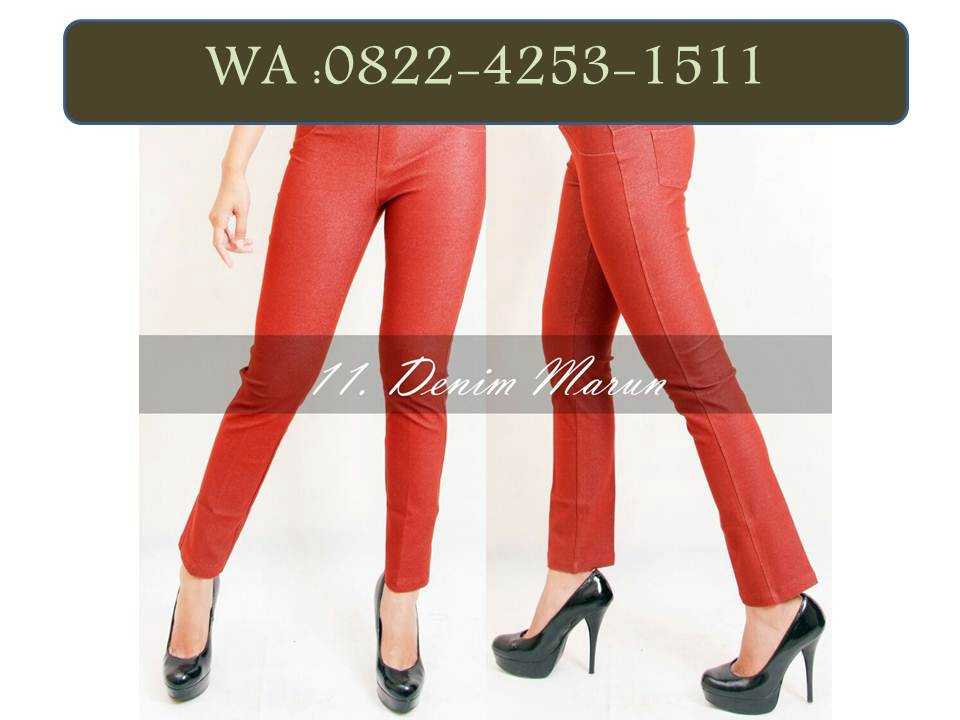 Wa 0822 4253 1511 Trendy Legging Katun Streach By Distributor Celana Denim Medium