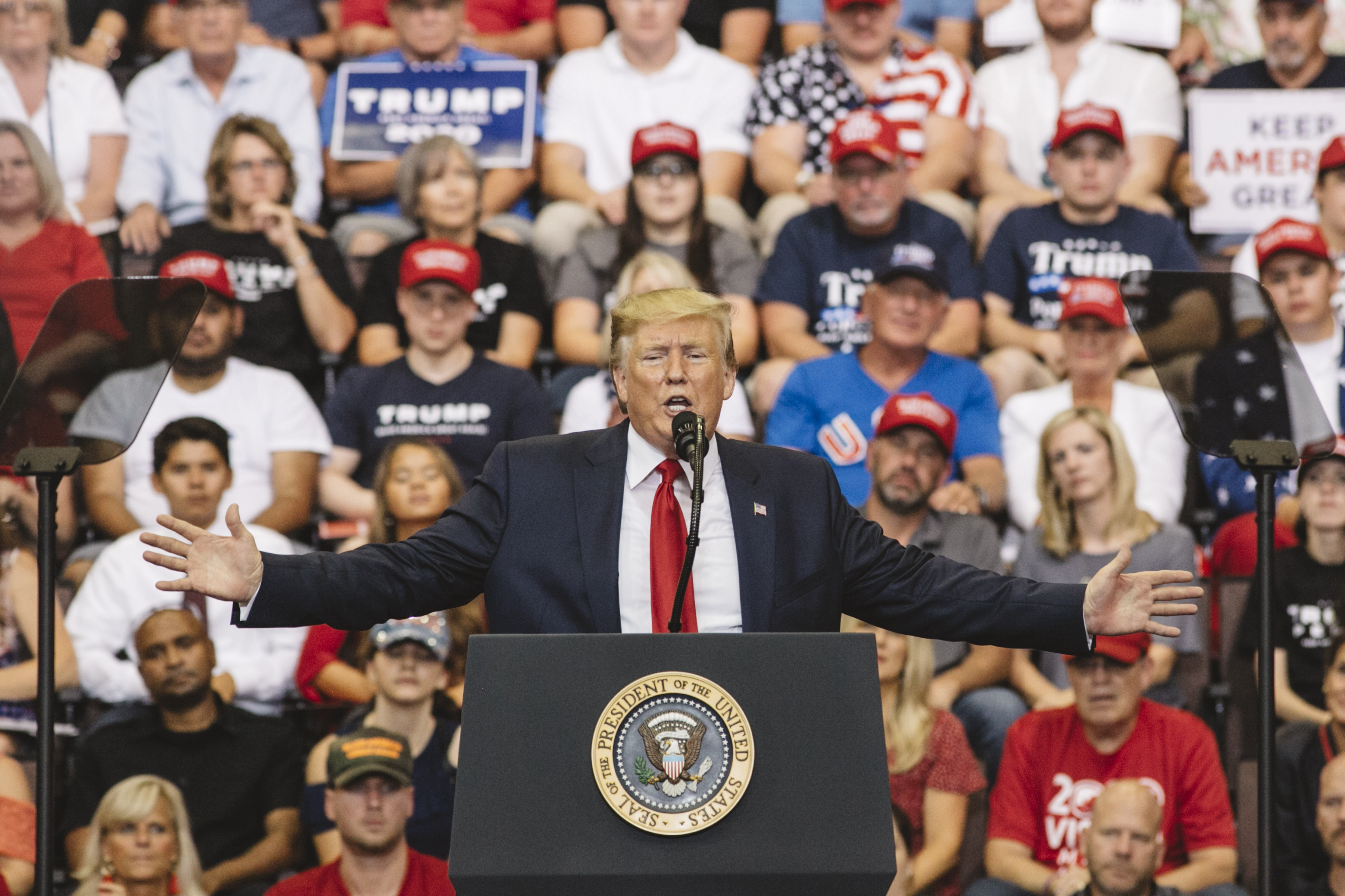 "Donald Trump speaking at a ""Keep America Great"" campaign rally in Cincinnati, Ohio on August 1, 2019."