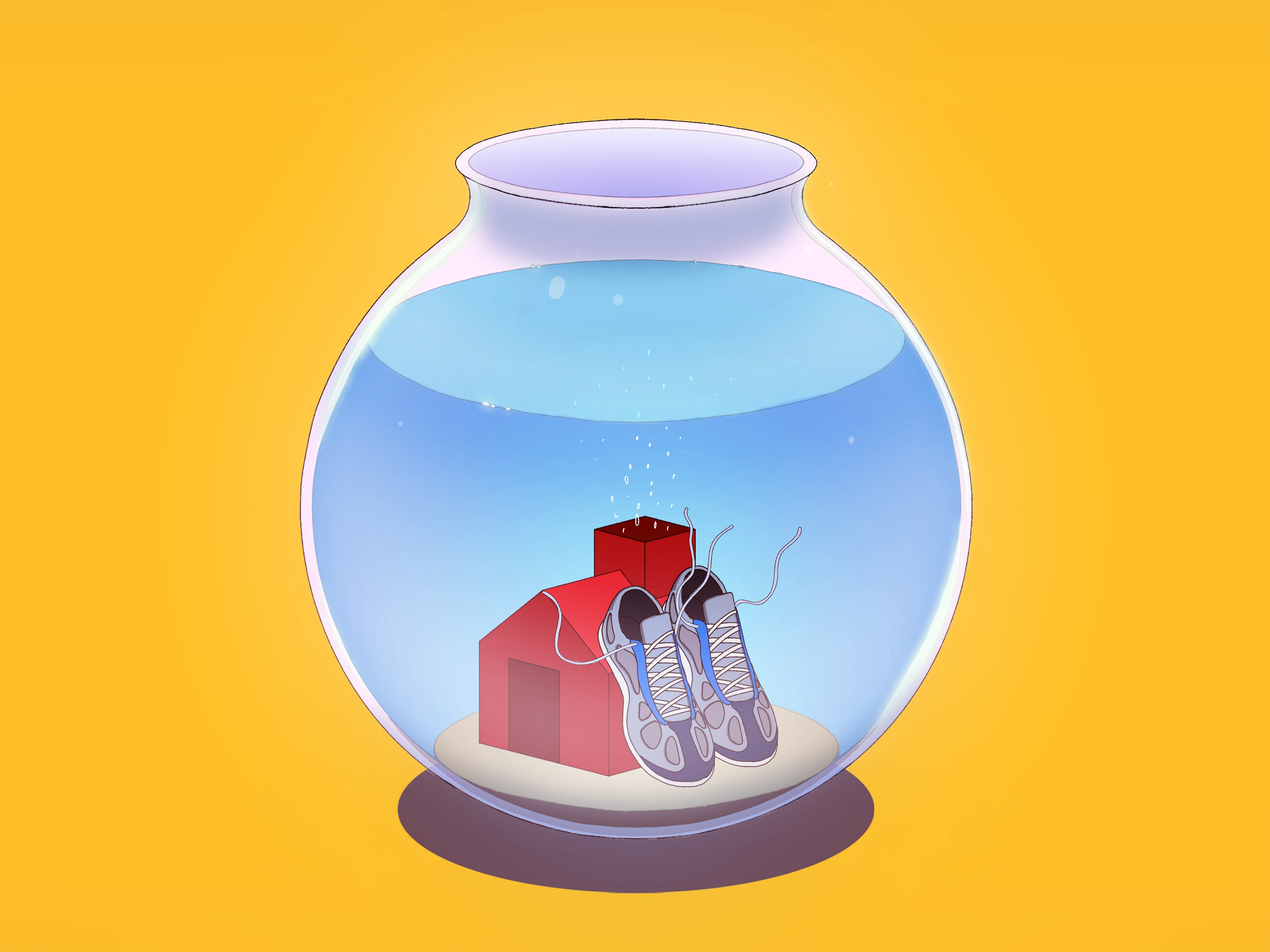 A pair of running shoes and a small house inside a fishbowl.