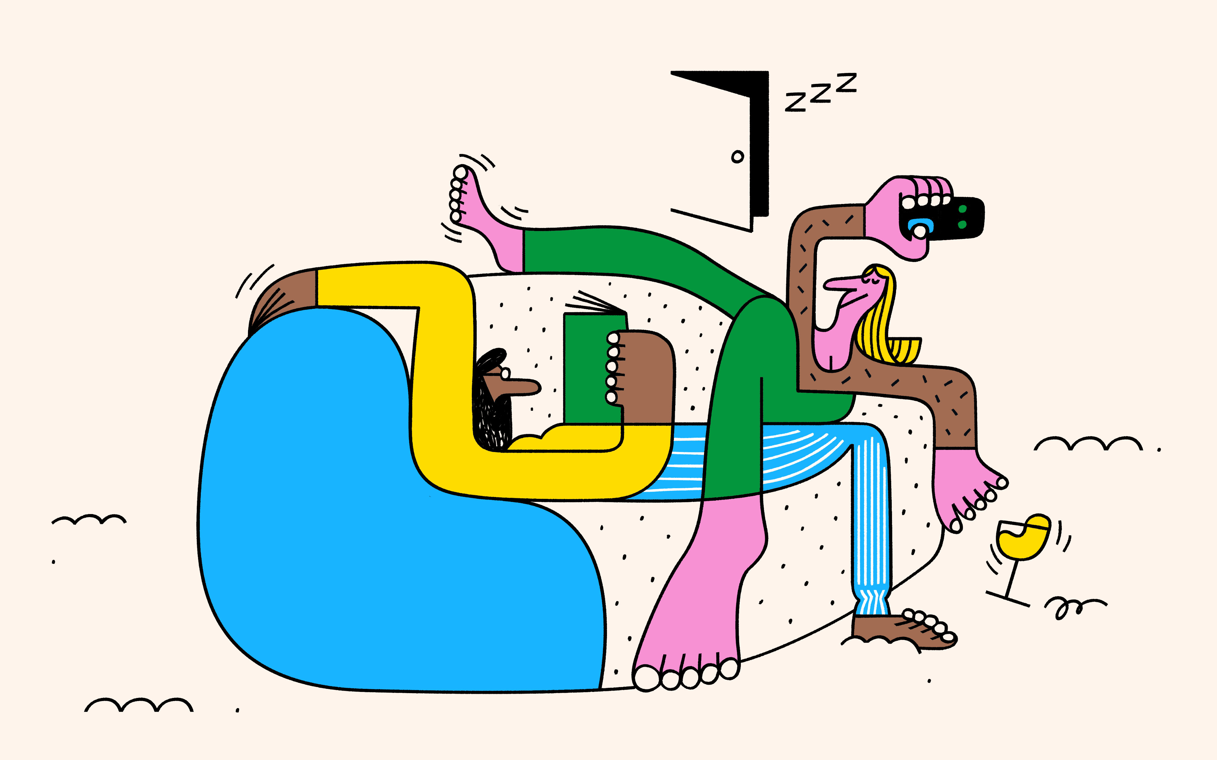 An illustration of two people laying on a sofa, one reading a book, one holding a TV remote.