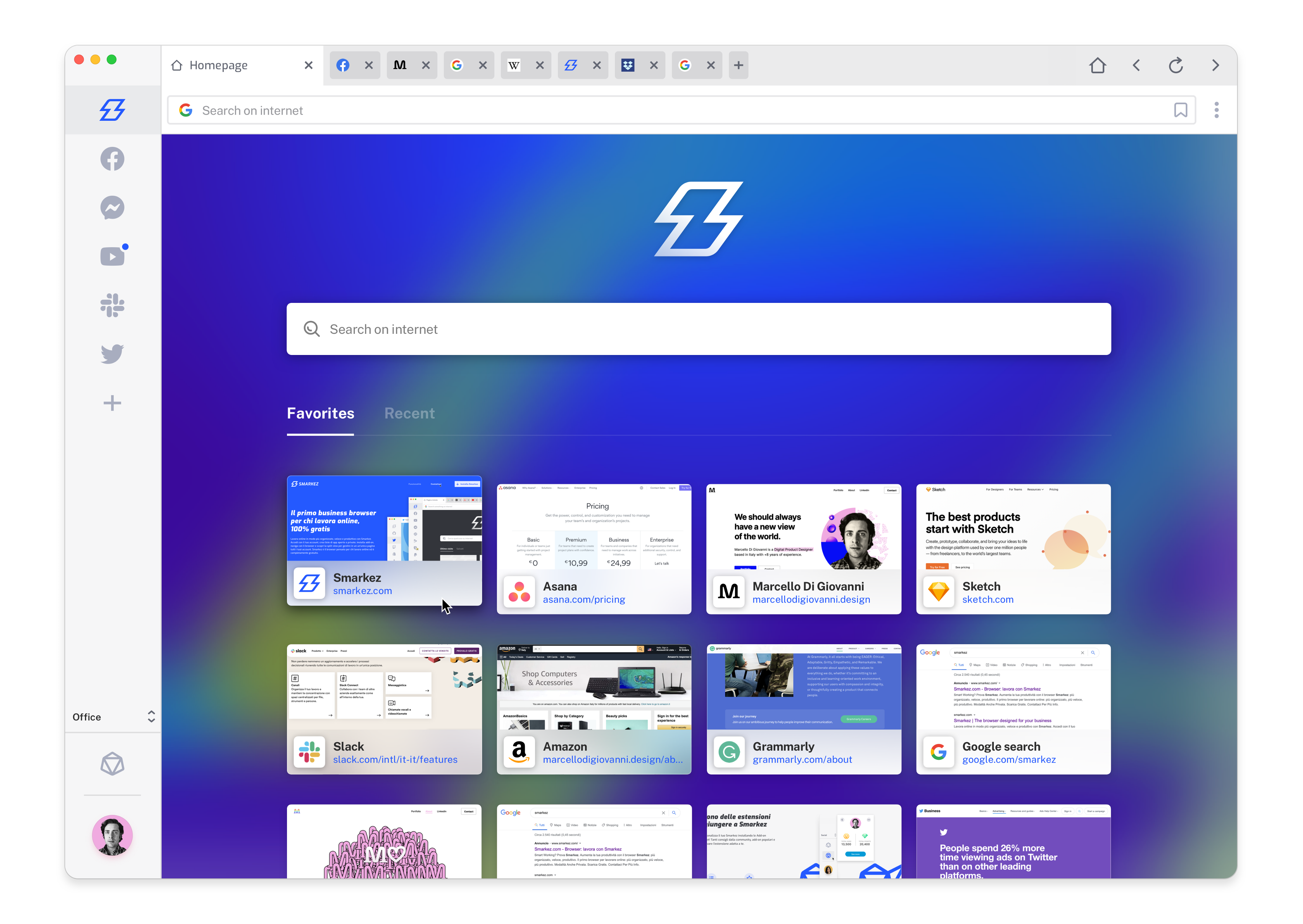 MARCELLO DI GIOVANNI designed Smarkez — a browser for PRO