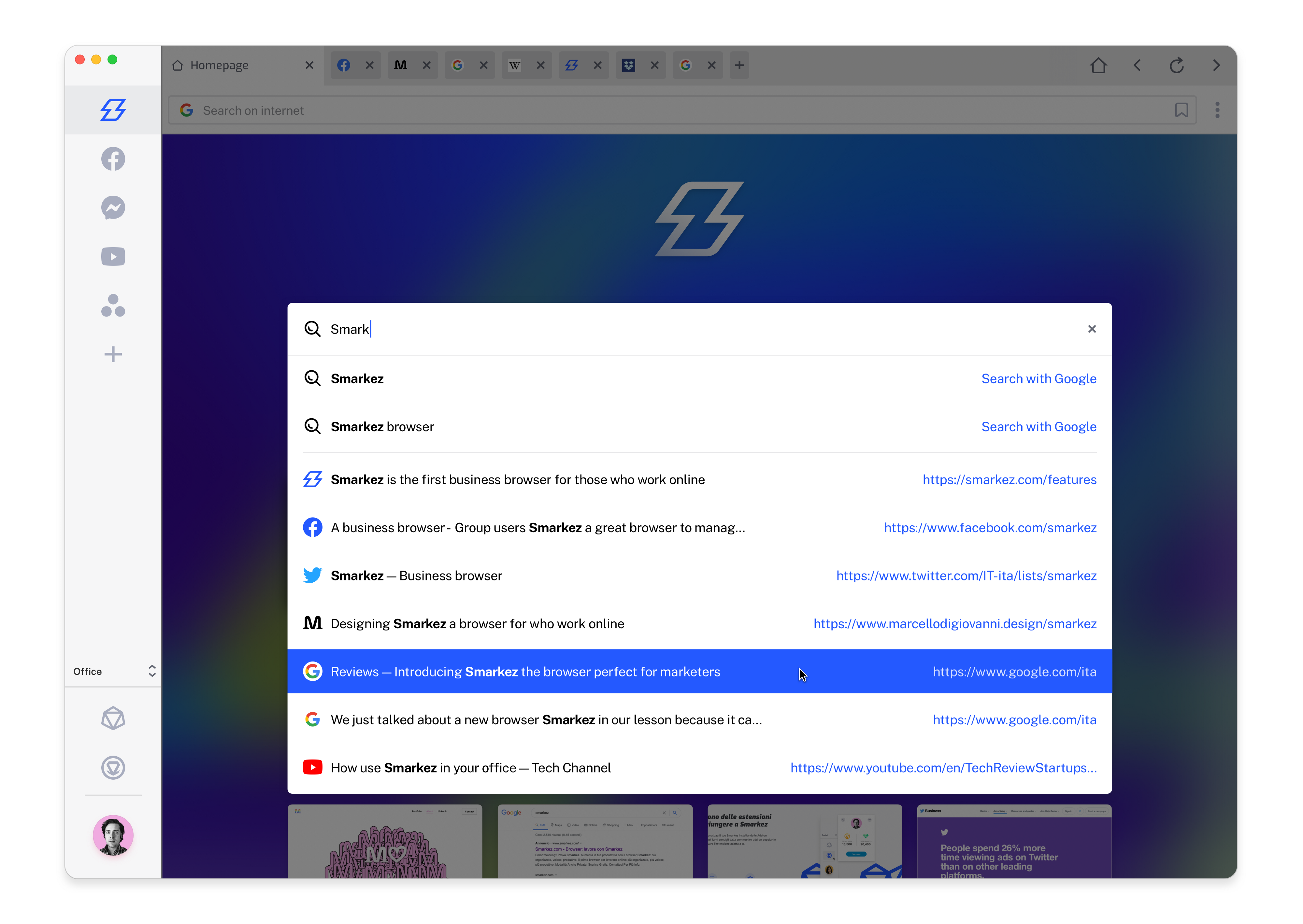 Smarkez design for a browser — Safari 2021 or Chrome are not for who work online