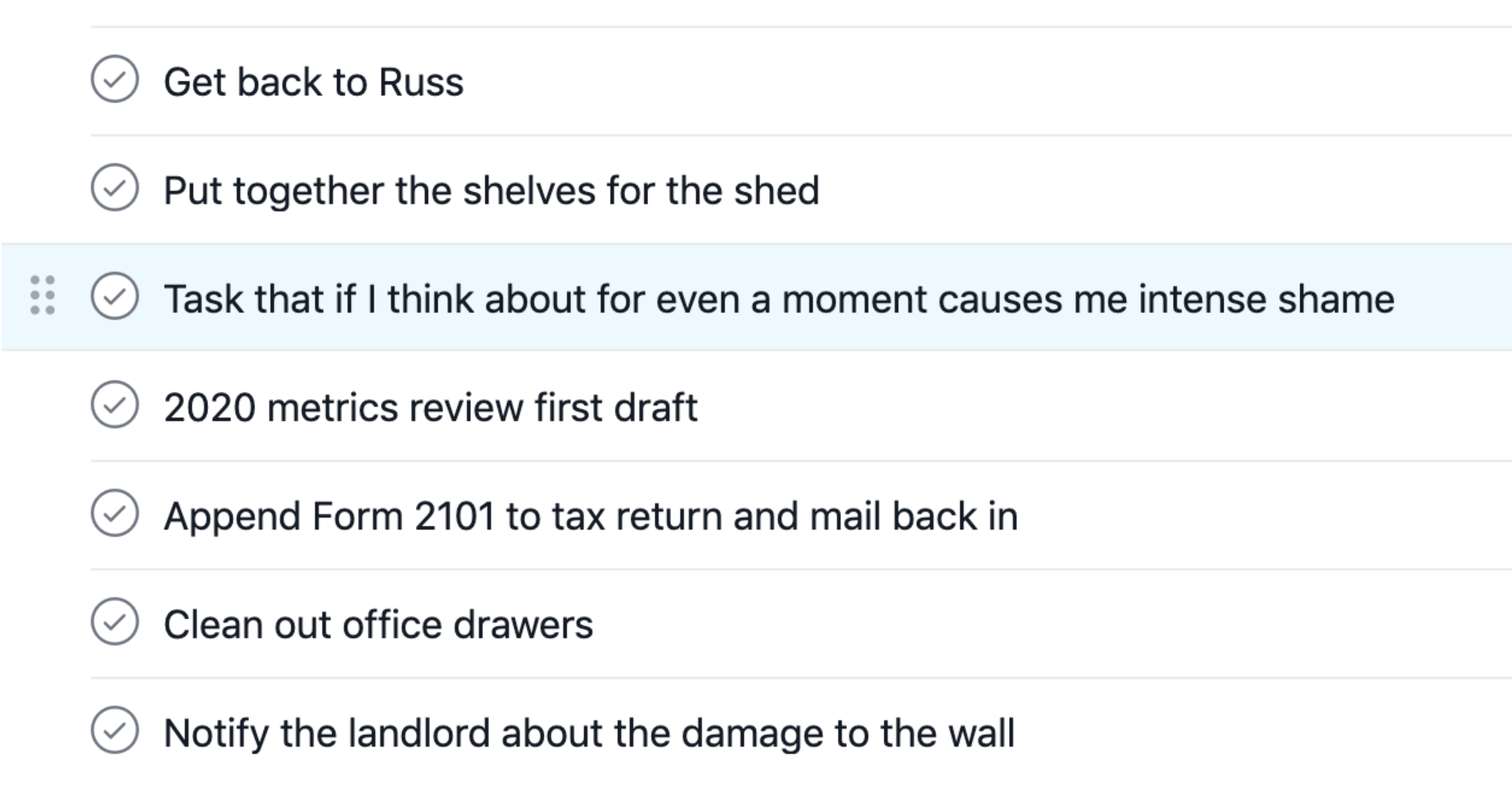 Mock to-do list with checkboxes.
