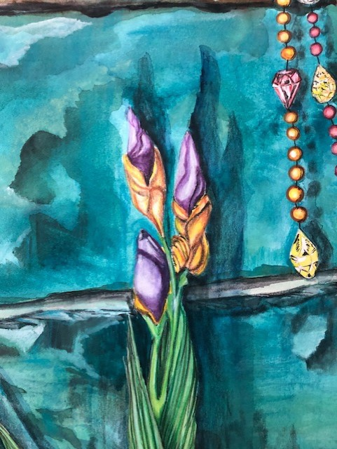 three iris buds and a string of gems and beads against a green stone wall