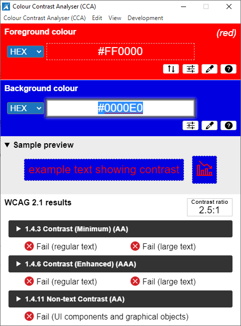 Screenshot of the Colour Contrast Analyzer results for blue on red, failing recommended contrast ratios