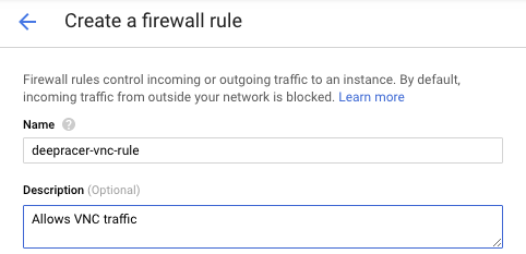 "Firewall rule name set to deepracer-vnc-rule with description of ""Allows VNC traffic"""