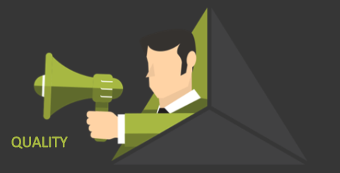 Man with a bullhorn on a side of the tradeoff triangle