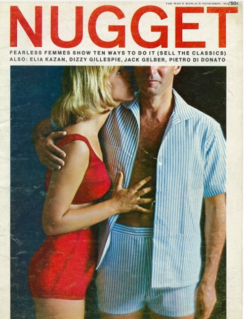 The November 1963 Issue of Nugget Magazine, featuring a man with his shirt open and a women whispering in his ear.