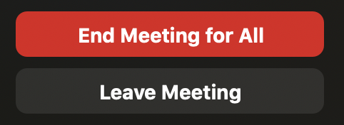 "A red button with white writing saying ""end meeting for all"" in bold type"