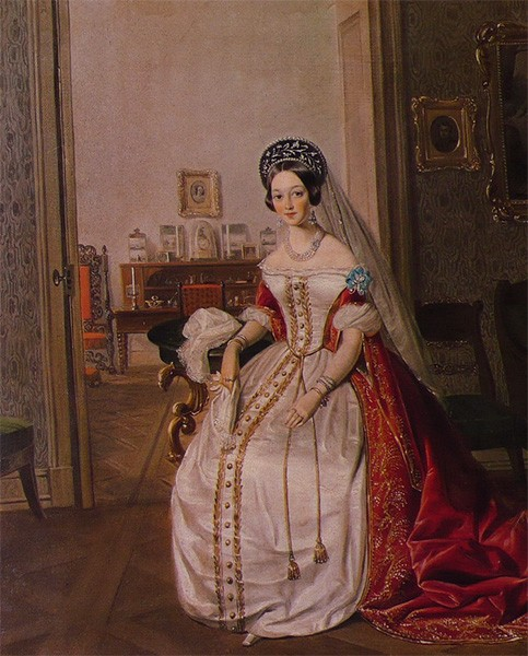 Lady-in-waiting wearing a black kokoshnik with floral embroidery, white veil, and red-and-white court dress.