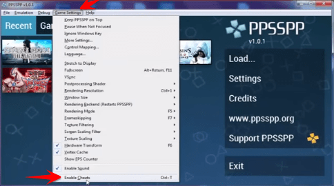 how do i use cheats on ppsspp