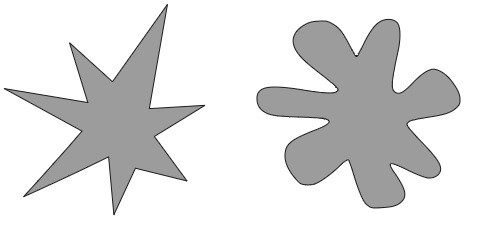 Two abstract shapes, one with sharp, pointy edges, one with round globular edges.