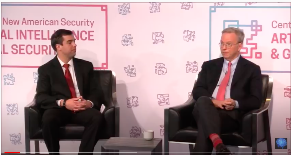 China Might Beat The US in Artificial Intelligence talk with Eric Schmidt, CEO of Google.