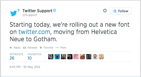 Twitter Fonts Update, replaces Helvetica Neue to Gotham