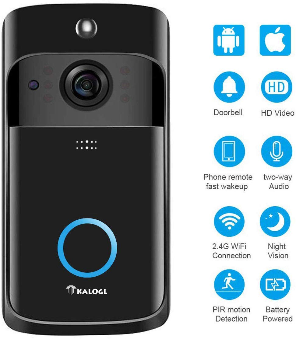 WiFi Smart Video Doorbell with Chime Home Security Camera Built-in 16GB Memory