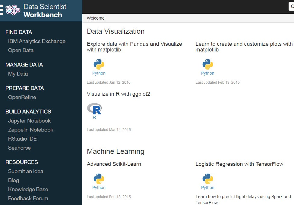 Tools for Data Science: User Stories - Data Scientist Workbench