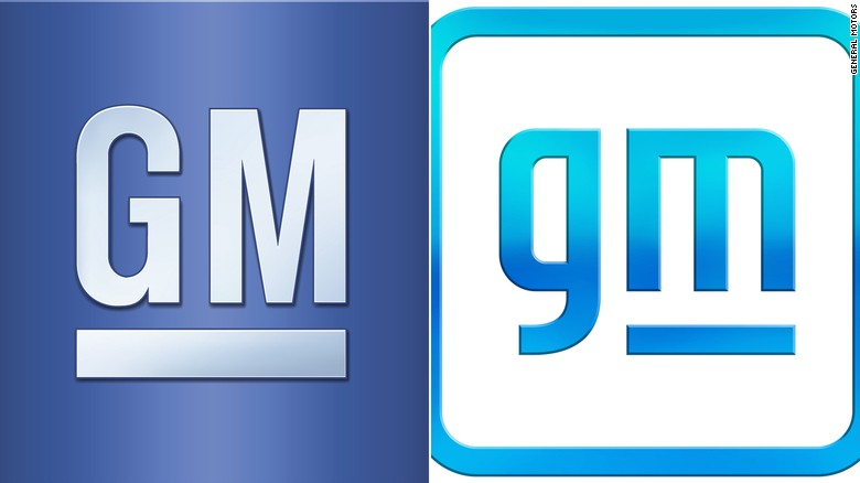 The old GM logo and the new GM logo side-by-side.