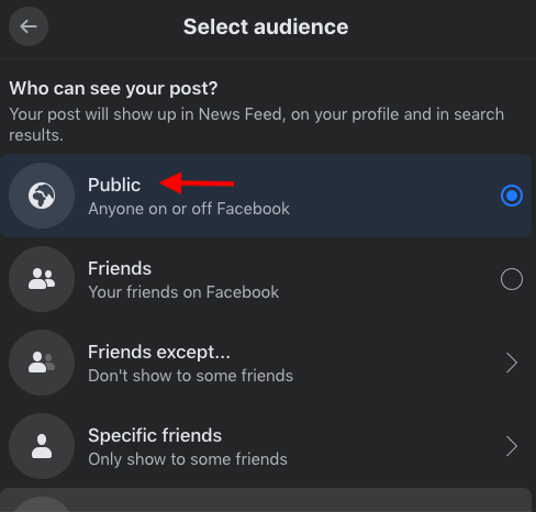Facebook offers an audience selector that lets you decide on a specific audience when posting.