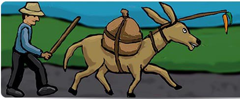 An illustration of a donkey following a carrot on a stick and followed by a man with a stick.