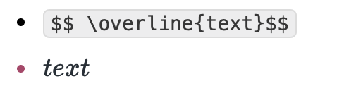 LaTeX code for the overlined text: \overline{text}