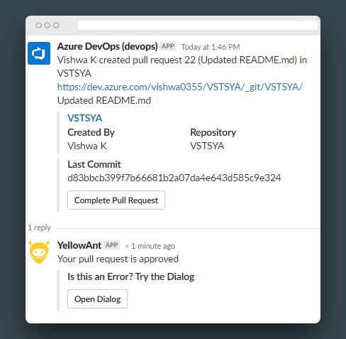 Azure DevOps Actions, Commands and Notifications now on Slack!
