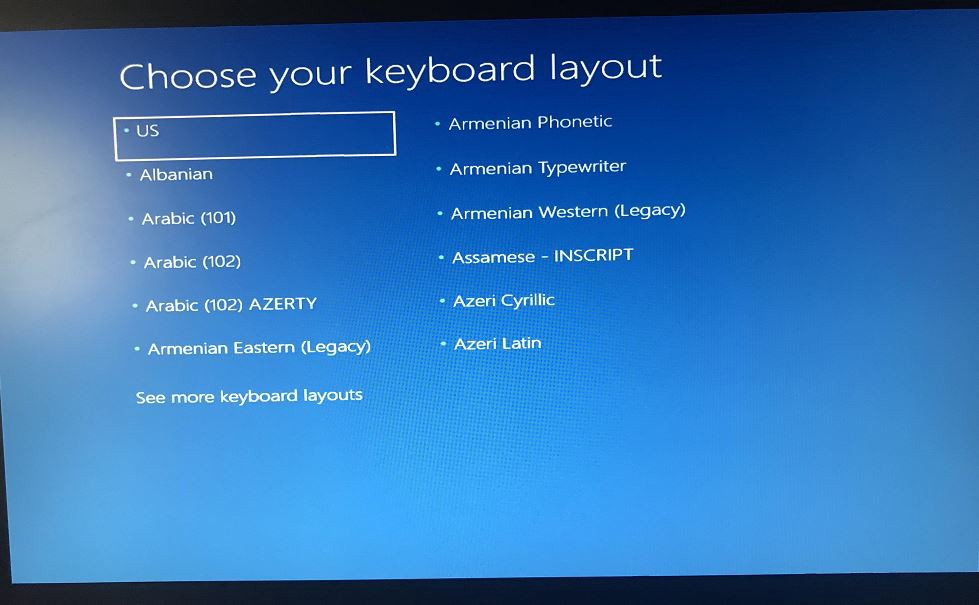 Windows 10 Upgrade stuck at Choose your keyboard layout screen