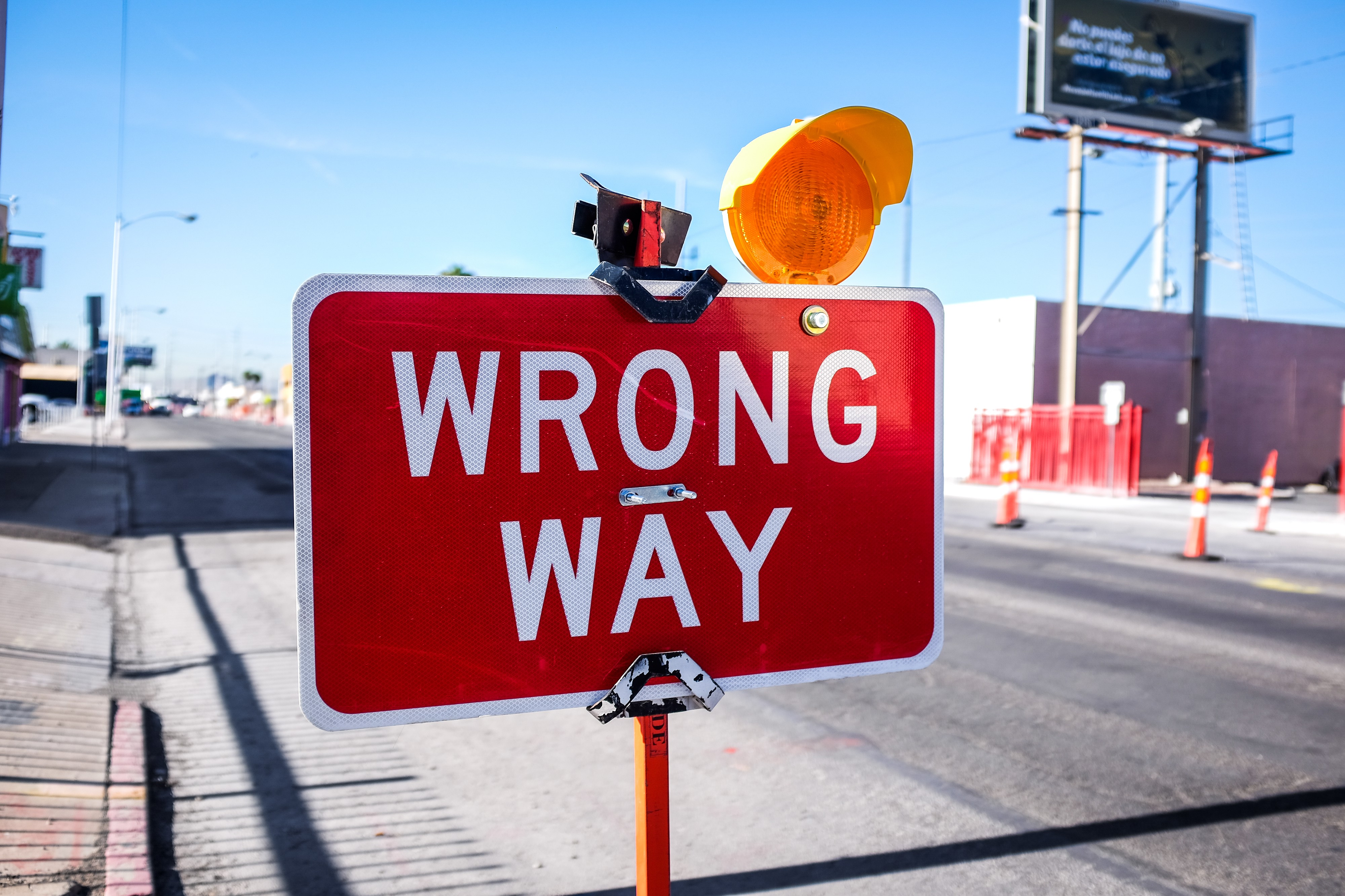 Sign with the wrong way direction