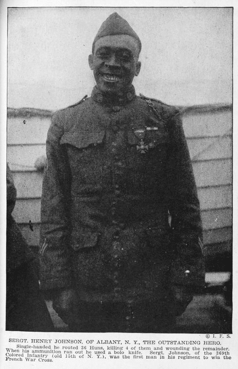 Johnson in 1919, wearing his French Croix de Guerre medal.