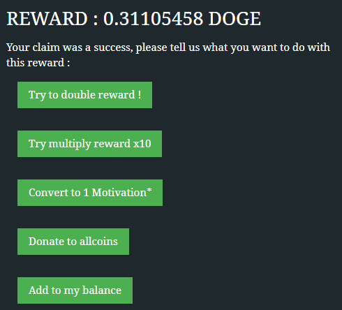 Options for Dogecoin claim at Allcoins.pw
