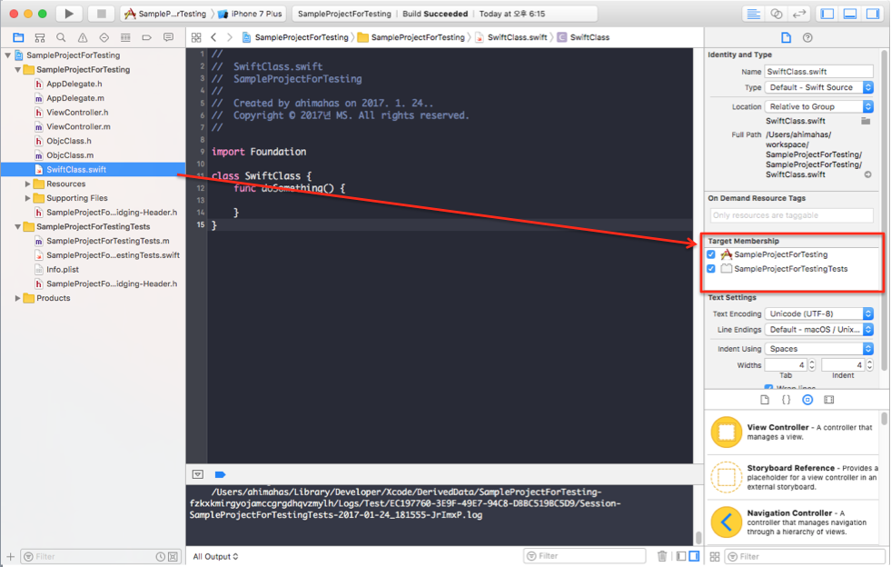 iOS Tests working with Objective-C and Swift class together