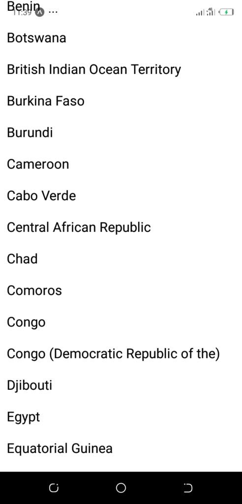 React Native New Countries List