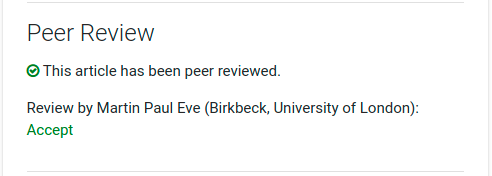 The newly revamped peer review pane showing an open review that can be selected