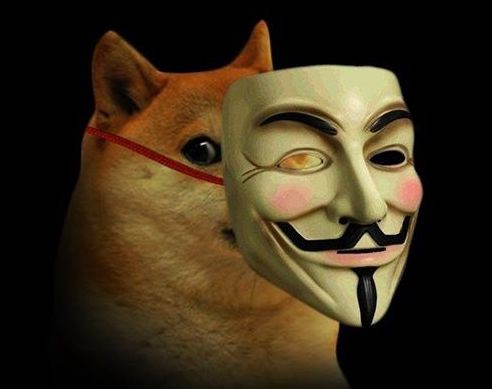 Doge with Guy Fawkes Mask.