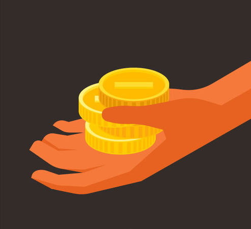 Illustration of hand holding gold coins