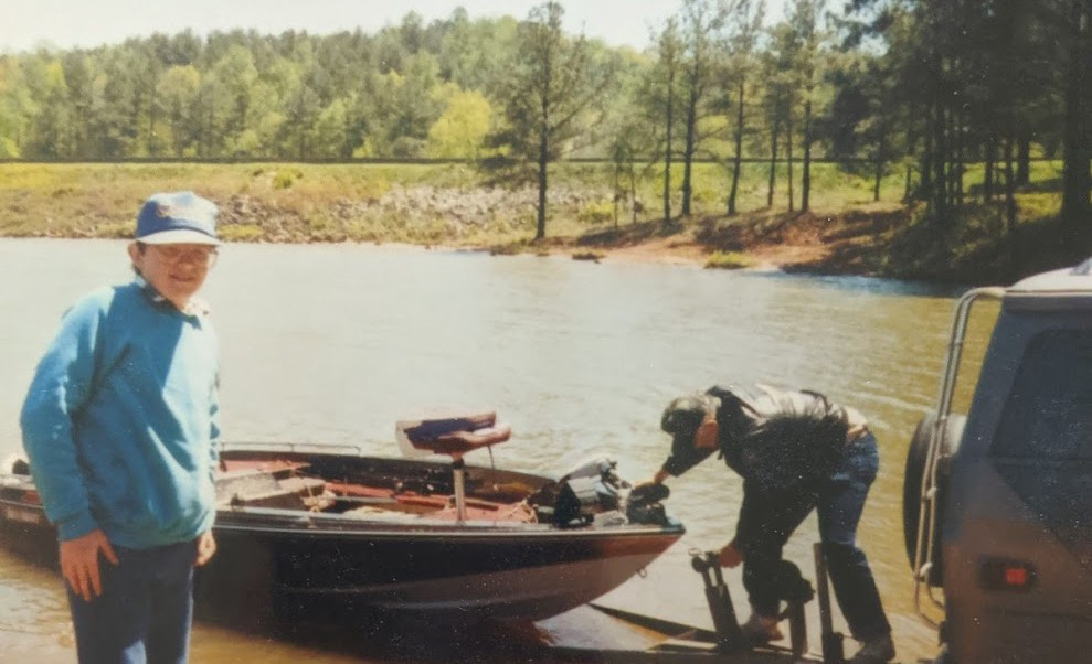 My Grandpa and I Putting the Boat into the Water