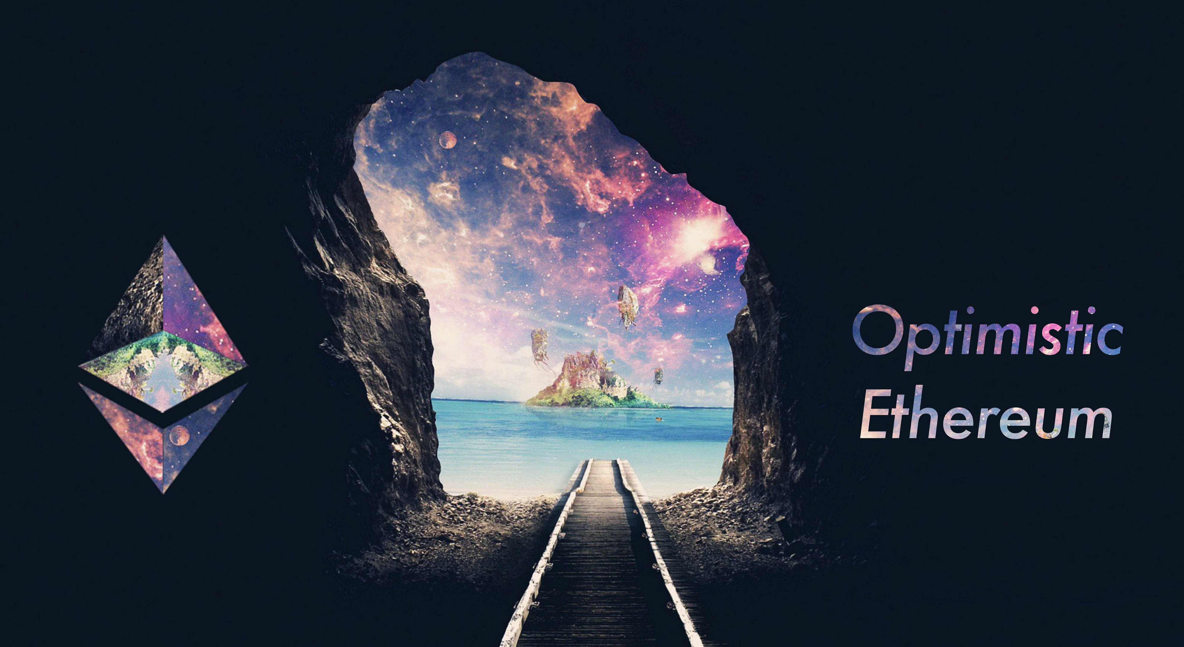 """Mystical island landscape emerging at the end of a long tunnel, flanked by an Ethereum logo and """"Optimistic Ethereum""""."""